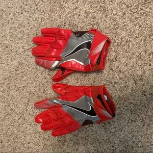 Nike red football gloves